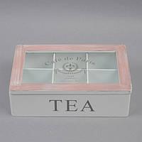 """Бокс для чая """"Cafe de Paris"""" PR47, размеры шкатулки 7x24x15 см, на 6 отделений, материал MDF, чайный бокс, коробка для чайных пакетов, шкатулка чайная"""