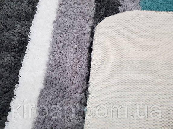 """Коврик в ванную комнату """"Полоски"""" (Серый с бирюзовым) 50х80 см, фото 2"""
