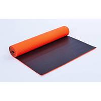 Коврик для фитнеса и йоги (Yoga mat) PVC 6мм двухслойный FI-5558-4 (1,73м x 0,61м x 6мм, оранж-чер)