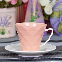"""Чашка порцелянова для напоїв """"Rhombus L"""" FR221, розмір 8х8.5 см, в наборі 12 предметів, 6 видів, в коробці, чашка для чаю, посуд для чаю"""