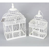 """Клітка підвісна для дому """"Bird"""" HX288, в комплекті 2 штуки, метал, декор для саду, декорування саду, аксесуари для саду"""