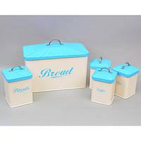 """Набір коробок для зберігання сипучих продуктів """"Bread"""" CF649, хлібниця, 4 банки в комплекті, розмір великий банки 18х11х11 см, метал"""