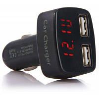 4 в 1 Автомобильное зарядное устройство с двумя USB портами, 3.1A, 12-24V, цифровой индикатор для iPhone / IPod / / Samsung / HTC / MP3 / MP4 / камеры