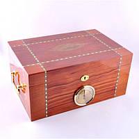 Х'юмідор для зберігання сигар 9E43, 34.5 * 24.5 * 16 см, дерево під лак, Аксесуари для куріння, Дерев'яний х'юмідор, Шкатулка для сигар