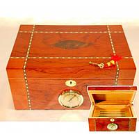 Х'юмідор для зберігання сигар 9E30, 34.5 * 24.5 * 16 см, дерево під лак, Аксесуари для куріння, Дерев'яний х'юмідор, Шкатулка для сигар
