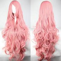 Super Long 100CM Розовый Лохматый длинный вьющийся боковой взрыва Вокалоид Мегурин Лука Очаровательный парик для косплея Розовый