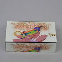 """Шкатулка стеклянная для украшений """"Птички"""" CT047, размер 5х16х9 см, в подарочной упаковке, шкатулка под бижутерию, шкатулка из стекла"""