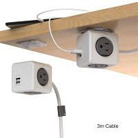 1 шт. Allocacoc продлен 4 розетки 2 порта USB куб powercube Розетка США подключите адаптер с кабелем 3м