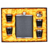 """Набір подарунковий для чоловіка """"Silver"""" GH808, в комплекті 6 предметів, метал, в коробці, фляга-подарунок, фляга металева"""