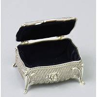 """Шкатулка металлическая для украшений """"Розочки"""" М2862, мельхиор, размер 5х9х6 см, шкатулка для бижутерии, деревянная шкатулка"""