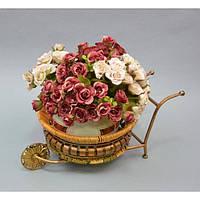 """Підставка під квіти """"Візок"""" B9669, розмір 44 * 20 см, вироби з ротанга і металу, декор для дому, декор для саду"""
