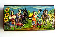 Шкатулка деревянная с росписью Казаки