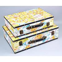 """Сундук деревянный для хранения вещей """"Yellow"""" TL1583, в наборе 2 штуки, сундук для декора, сундук для предметов"""
