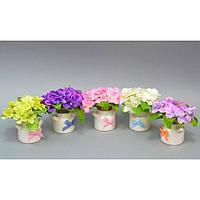 """Композиция цветочная для декора """"Decor"""" SU006, размер 12x13 см, в вазоне, 5 видов, декоративный цветок, искусственное растение"""
