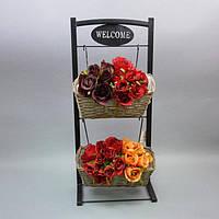 Подставка под цветы двойная JK4, материал - маталл, лоза, размер - 67*31*15 см, декор для дома, декорирование дома, аксессуары для дома
