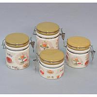 """Набор банок для хранения сыпучих продуктов """"Cupcake"""" YX1315, с защелкой, в комплекте 4 банки, керамика, в коробке, комплект для сыпучих"""