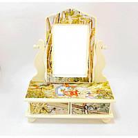 "Зеркало - шкатулка для украшений ""Flowers"" SZ020, дерево, 13х11х18.5 см, зеркало для оформления интерьера, зеркало декоративное, зеркало в прихожую"
