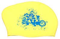 Шапочка для плавания Swim Cap женская желтая (для длинных волос)