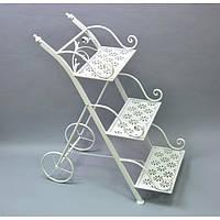 Подставка под цветы B13051, материал - металл, размер 70*60*35 см, изделия из ротанга и металла, декор для дома, декор для сада