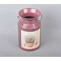 """Кашпо - бидончик для цветов """"Прованс"""" YW630, металл, размер 22х12 см, вазон для комнатных растений, горшок для растений"""