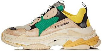Мужские кроссовки Bal Triple S Green Yellow (люкс копия)
