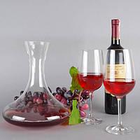"""Набір винний для Декантірованіе """"Expert"""" VB073, розмір Декантер 25х20 см, об'єм 2 л, в комплекті 4 келиха, скло, набір для вина, подарунковий набір"""