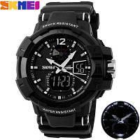 SKMEI 1040 LED наручные военные часы с будильником, таймером, секундомером, индикацией дня недели, водонепроницаемость до 50м Чёрный