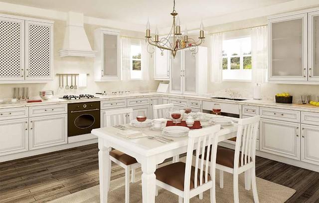 Белая кухня из дерева на заказ Киев.