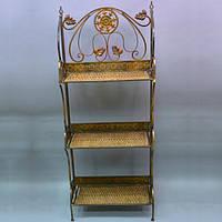 """Етажерка декоративна для дому """"Luxury"""" HD080206, на 3 полки, ротанг / метал, 136х55х27 см, етажерка для декору, етажерка з полицями"""