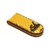 Зажим для купюр кожаный Shmatko Золотой (SH3473)