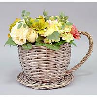 """Подставка под цветы """"Чаша"""" JK16 большая, материал - лоза, размеры - 18*22 см, декор для дома, декорирование дома, аксессуары для дома"""