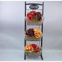 Подставка под цветы тройная JK3, материал - металл, лоза, размер - 90*30*15 см, декор для дома, декорирование дома, аксессуары для дома