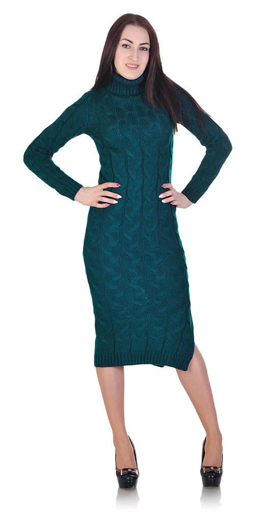 Длинное платье под горло зеленое