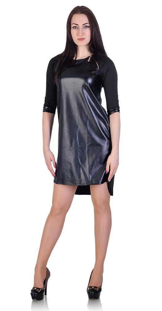 Платье с кожей спереди черное