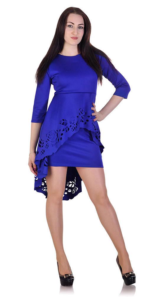Платье с перфорацией электрик
