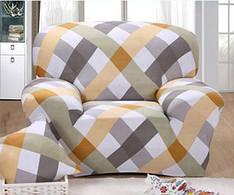 Чехол для кресла эластичный Бифлекс принт Серо-жёлтый ромб HomyTex
