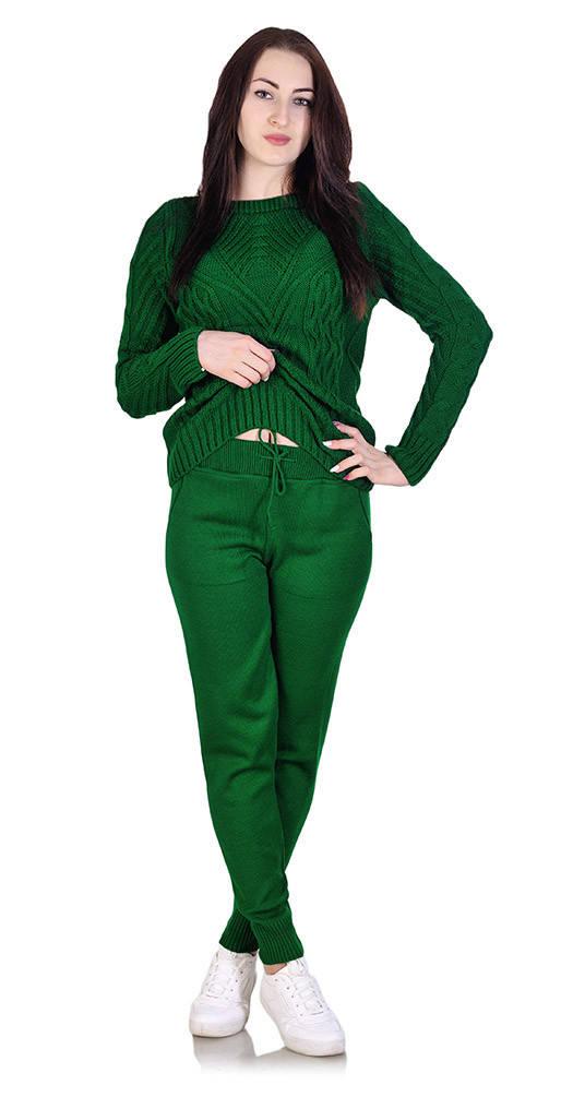 Костюм вязаный оригинальный зеленый