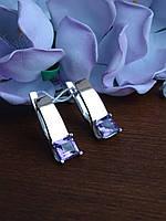 Новинка! Шикарные серебряные серьги с золотой пластиной и аметистом, фото 1