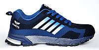 Кроссовки мужские (реплика Adidas Marathon) сине-черные. Размеры 41, 42, 43, 44, 45, 46. Bonote 8523-3.