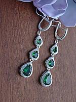 Шикарні сережки з зеленим каменем, фото 1