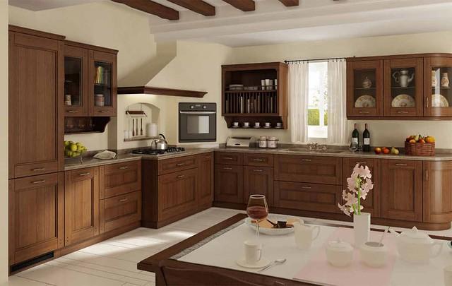 Деревянная кухня из массива бука на заказ в Киеве