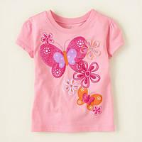 Детские футболки с принтом для девочек роз. Бабочки, фото 1