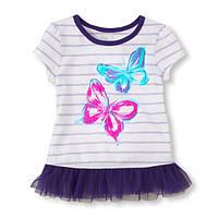 Детская туника с ярким принтом фиол. Бабочки