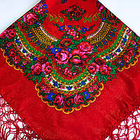 Платок красный с цветами с люрексом UH-1046