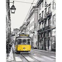 """Картина за номерами Міський пейзаж """"Жовтий трамвайчик"""" KHO2187"""