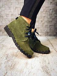 Ботинки, оливковая замша