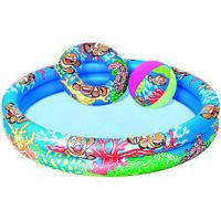 Надувной бассейн Bestway 51124 с кругом и мячом