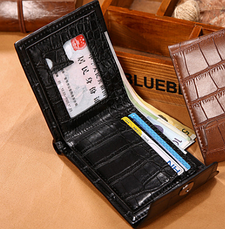 Кожаный мужской кошелек  коричневый, фото 3