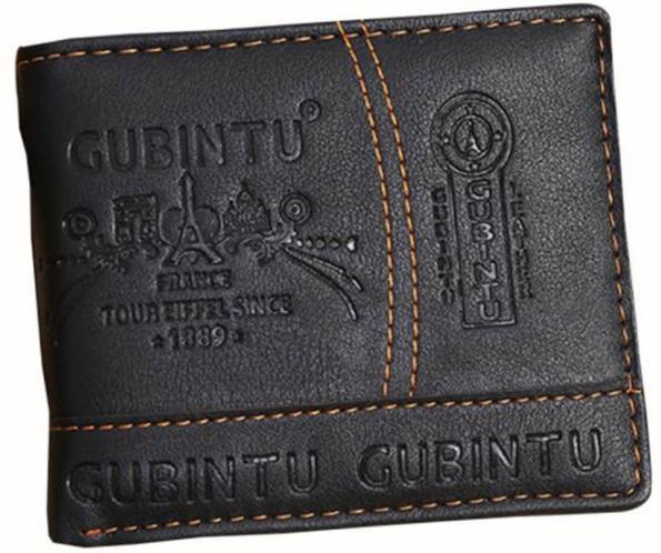 Кожаный мужской кошелек  черный
