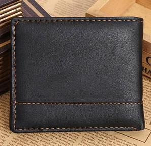 Кожаный мужской кошелек  черный, фото 2